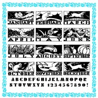 Calendar Monthly Symbols Art Deco (large)