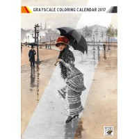 "Coloring Calendar 2017 (12 pages 8""x11"") Victorian Ladies Everyday Life FLONZ Vintage Designs for Grayscale Coloring"