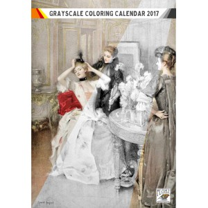 "Coloring Calendar 2018 (12 pages 8""x11"") Victorian Ladies Glamour Nightlife FLONZ Vintage Designs for Grayscale Coloring"