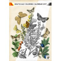 "Coloring Calendar 2017 (12 pages 8""x11"") Butterfly and Flowers FLONZ Vintage Designs for Grayscale Coloring"