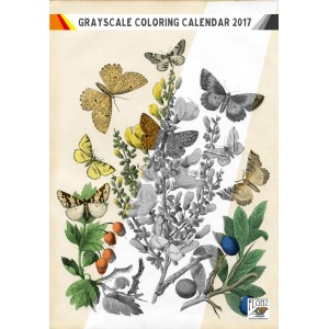 "Coloring Calendar 2018 (12 pages 8""x11"") Butterfly and Flowers FLONZ Vintage Designs for Grayscale Coloring"