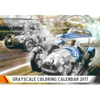 """Coloring Calendar for Man 2018 (12 pages 8""""x11"""") Grand Prix Classic Cars Racing FLONZ Vintage Designs for Grayscale Coloring"""