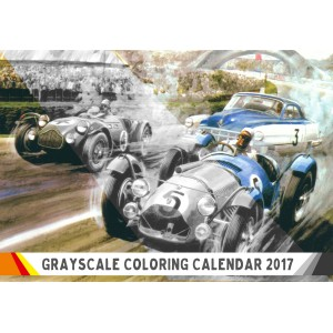 "Coloring Calendar for Man 2018 (12 pages 8""x11"") Grand Prix Classic Cars Racing FLONZ Vintage Designs for Grayscale Coloring"