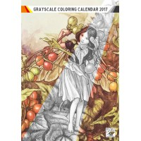 "Coloring Calendar 2017 (12 pages 8""x11"") Flower Fairy by Cecile Barker FLONZ Vintage Designs for Grayscale Coloring"