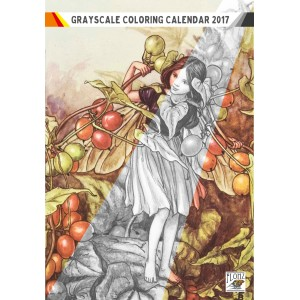 """Coloring Calendar 2018 (12 pages 8""""x11"""") Flower Fairy by Cecile Barker FLONZ Vintage Designs for Grayscale Coloring"""