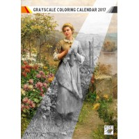 """Coloring Calendar 2018 (12 pages 8""""x11"""") Country Gardens and Rural Life FLONZ Vintage Designs for Grayscale Coloring"""