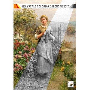 "Coloring Calendar 2018 (12 pages 8""x11"") Country Gardens and Rural Life FLONZ Vintage Designs for Grayscale Coloring"