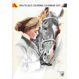 "Coloring Calendar 2017 (12 pages 8""x11"") Girl and Horse FLONZ Vintage Designs for Grayscale Coloring"
