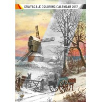 "Coloring Calendar 2017 (12 pages 8""x11"") Winter Country Christmas Landscapes FLONZ Vintage Designs for Grayscale Coloring"