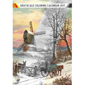 "Coloring Calendar 2018 (12 pages 8""x11"") Winter Country Christmas Landscapes FLONZ Vintage Designs for Grayscale Coloring"