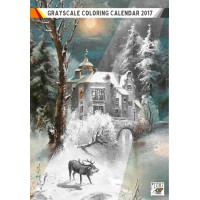 "Coloring Calendar 2017 (12 pages 8""x11"") Winter Forest Landscapes Christmas FLONZ Vintage Designs for Grayscale Coloring"