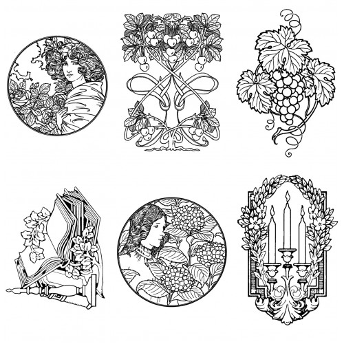 Adult Coloring Book Art Nouveau Floral Patterns