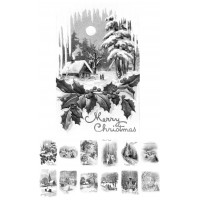"Adult Coloring Book (24 cards 4""x6.5"") Vintage Christmas Motives # Coloring Over Grayscale"