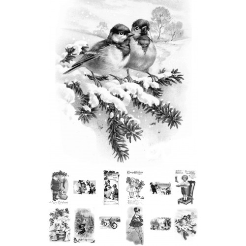 Adult Coloring Book 24 Cards 4x65 Vintage Christmas Motives Over Grayscale