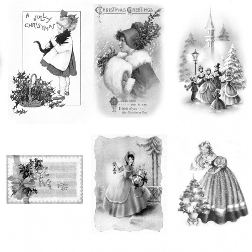 adult coloring book 24 cards 4x65 vintage christmas motives coloring over grayscale