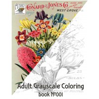 Flowers Wildflowers Seed Pockets (24 large pages) Vintage Designs for Grayscale Coloring