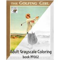 Girl Playing Golf Vintage Sport Travel Poster (24 large pages) Vintage Designs for Grayscale Coloring