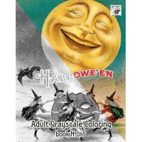 Halloween (24 large pages) Vintage Designs for Grayscale Coloring