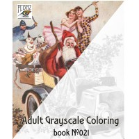 Christmas Tree Santa Gifts for Kids (24 large pages) Vintage Designs for Grayscale Coloring
