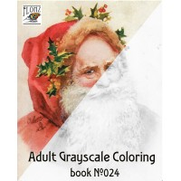 Santa Christmas Tree Gifts for Kids (24 large pages) Vintage Designs for Grayscale Coloring