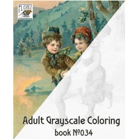 Winter Activity for Children (24 large pages) Vintage Designs for Grayscale Coloring