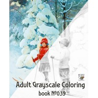 Children Winter Outdoor Activity Jenny Nystrom (24 large pages) Vintage Designs for Grayscale Coloring
