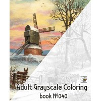 Winter Country Landscapes Rural Village Christmas (24 large pages) Vintage Designs for Grayscale Coloring
