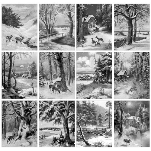 Winter Country Landscapes Rural Village Animals 24 large