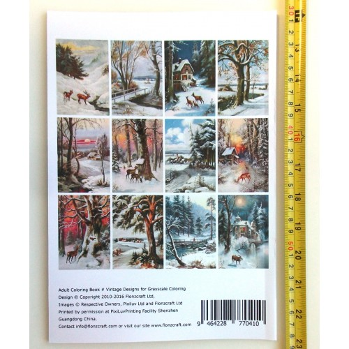 24 pages 8x11//A4 Winter Country Landscapes Rural Village Christmas FLONZ Vintage Designs for Grayscale Coloring Adult Coloring Book