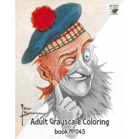 Funny Scotland Persons Fred Buchanan Cartoons (24 large pages) Vintage Designs for Grayscale Coloring