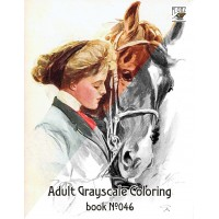 Girls and Horses (24 large pages) Vintage Designs for Grayscale Coloring