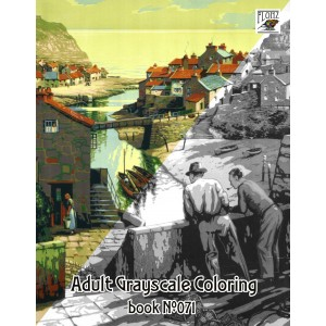 Britan Holidays Vintage Travel Posters (24 large pages) Vintage Designs for Grayscale Coloring