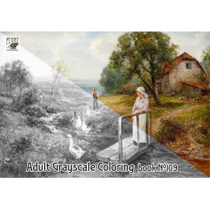 Country Life Rural Autumn Landscapes Vintage Painting (24 large pages) Vintage Designs for Grayscale Coloring