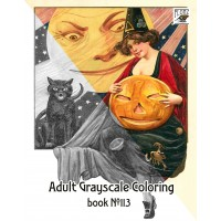 Halloween Pinup Girls (24 large pages) Vintage Designs for Grayscale Coloring