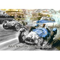 Formula Grand Prix Races Classic Cars (24 pages) Grayscale Coloring