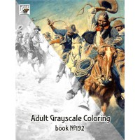 Cowboys Wild Western Newell Wyeth (24 pages) Grayscale Coloring