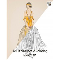 Fashionable Dress 3 / Vintage Fashion Art Deco (24 pages) Grayscale Coloring