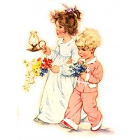 "Children Play Flower Vintage ~ 4pcs (2.5""x3.5"")"