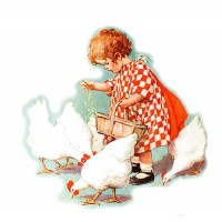 "Girl Feed Chicken Vintage ~ 4pcs (2.5""x3.5"")"
