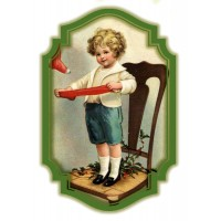 "Boy w Stocking 0461 Vintage Christmas Waterslide Decals (4pcs 2.5""x3.5""each)"
