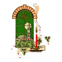 """Candle Window 0467 Vintage Christmas Waterslide Decals (4pcs 2.5""""x3.5""""each)"""