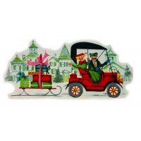 """Car and Sleigh 0485 Vintage Christmas Waterslide Decals (4pcs 2.5""""x3.5""""each)"""