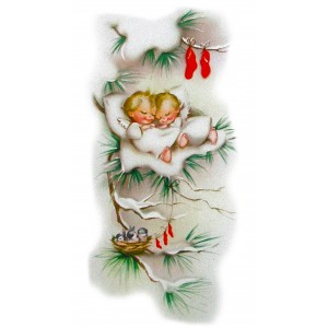"Angels Sleep 0488 Vintage Christmas Waterslide Decals (4pcs 2.5""x3.5""each)"