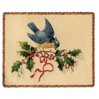 "Bird w Holly 0501 Vintage Christmas Waterslide Decals (4pcs 2.5""x3.5""each)"
