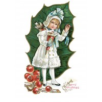 "Girl in White 0587 Vintage Christmas Waterslide Decals (4pcs 2.5""x3.5""each)"