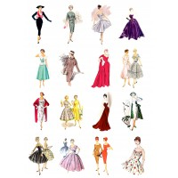"""Vintage Fashion Fifties // Decoupage Paper Pack (10sheets A4 / 8""""x12"""")"""