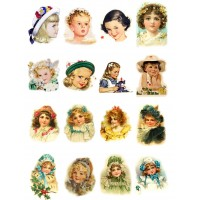 "Victorian Girls Portraits // Decoupage Paper Pack (10sheets A4 / 8""x12"")"