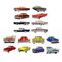 "Classic Cars America Golden Era Sixties // Decoupage Paper Pack (10sheets A4 / 8""x12"")"