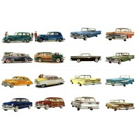 "Classic Cars America Golden Era // Decoupage Paper Pack (10sheets A4 / 8""x12"")"