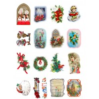 "Vintage Christmas Santa Gift Tree // Decoupage Paper Pack (10sheets A4 / 8""x12"")"